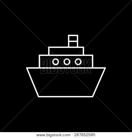 Flat Line Monochrome Ship Symbol For Web Sites And Apps. Minimal Simple Black And White Ship Symbol.