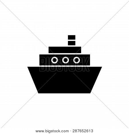 Flat Monochrome Ship Silhouette For Web Sites And Apps. Minimal Simple Black And White Ship Silhouet