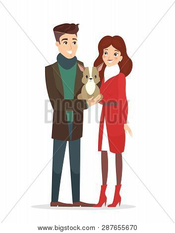 Vector Illustration Of Couple Of Young People With A Pet. Handsome Husband And Pretty Wife With A Cu