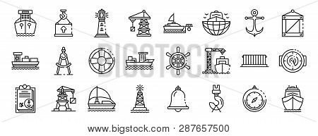 Marine Port Icons Set. Outline Set Of Marine Port Vector Icons For Web Design Isolated On White Back