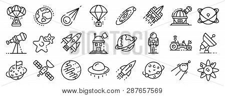 Space Research Technology Icons Set. Outline Set Of Space Research Technology Vector Icons For Web D
