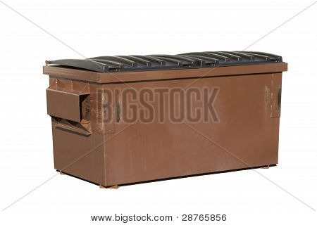 Brown Dumpster Isolated on a White Background