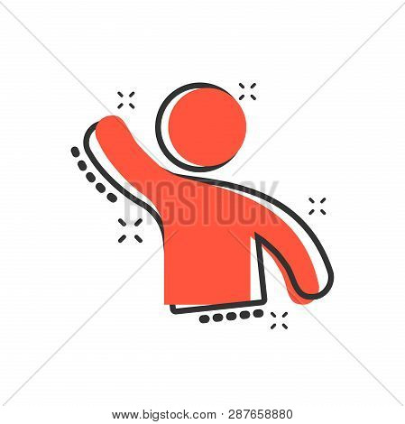People Greeting With Hand Up Icon In Comic Style. Person Gesture Vector Cartoon Illustration Pictogr