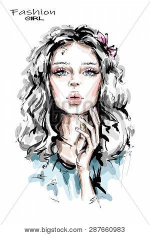 Hand Drawn Beautiful Young Woman With Long Blonde Hair. Stylish Girl. Fashion Woman Look. Beautiful
