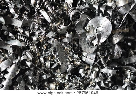 A Lot Of Metal Shavings After Working On A Milling Machine Or Cnc Machine. Metal Shavings Texture