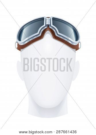 Pilot Glasses. Eye Protection. Air Trend. Male Fashion. Aviator Vogue. Occupation Equipment. Isolate