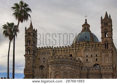 Scenic Landmark In Palermo. Palermo Cathedral Is Cathedral Church Of Roman Catholic Archdiocese Of P