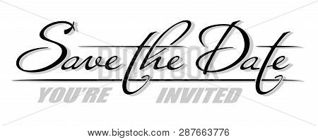 Handwritten Isolated Phrase Save The Date With Shadow. Hand Drawn Brush Calligraphy Lettering