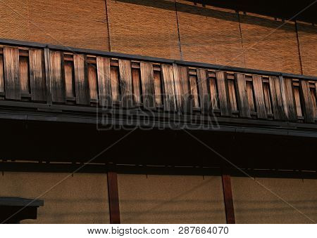 Japanese old and traditional wooden brown handrails background poster