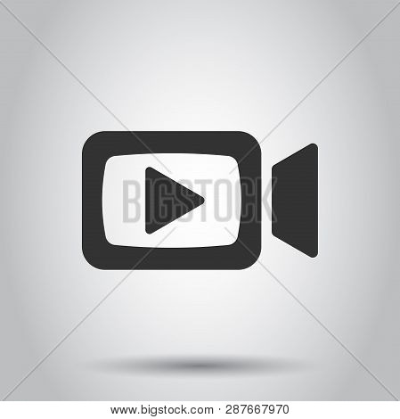 Video Camera Icon In Flat Style. Movie Play Vector Illustration On White Background. Video Streaming