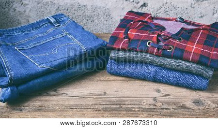 Men Casual Outfit. Men's Shoes, Clothing And Accessories On Wooden Background - Sweater, Jeans. Top