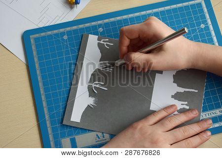 Making  Tunnelbook. 3D Greeting Card. Artwork Equipment And Tools For Paper Cut - Cutting Knife, Sha