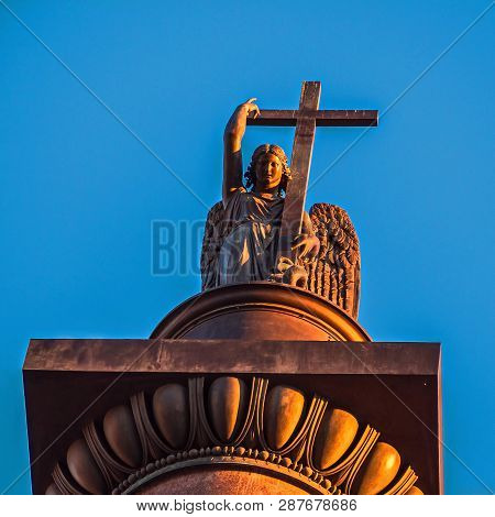 The Angel Of St. Petersburg On Palace Square. Completion Of The Alexandria Pillar.
