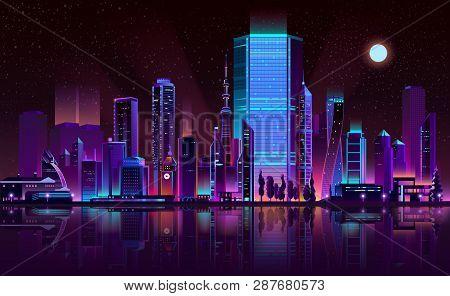 Future Metropolis Night Landscape Cartoon Vector In Fluorescent Colors. Illuminated With Neon Glowin