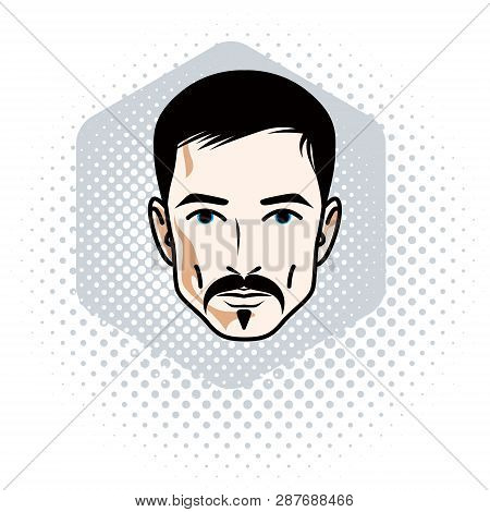 Man face, human head. Vector character wearing whiskers and beard, handsome brunet male. poster