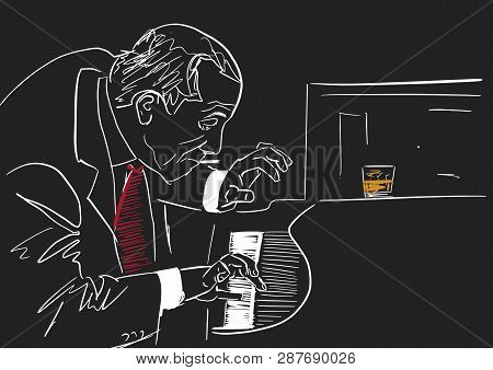 Piano Player. White Silhouette On Black Background. Old Smoking Musician Plays The Piano In Club. A