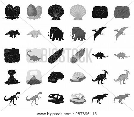 Different Dinosaurs Black, Monochrome Icons In Set Collection For Design. Prehistoric Animal Vector
