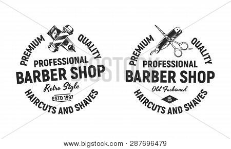 Two Circle Barber Shop Logo, Signs, Emblems.  Barber Shop Circle Logo Isolated On White Background.