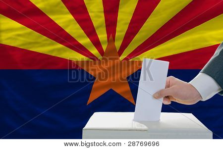 Man Voting On Elections In Front Of Flag Us State Flag Of Arizona