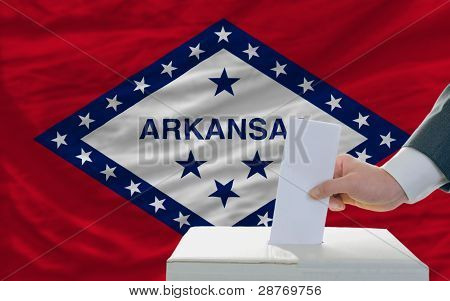 Man Voting On Elections In Front Of Flag Us State Flag Of Arkansas