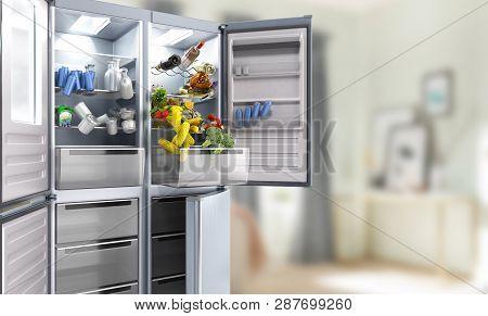 Open Stainless Steel Modern Refrigerator On Room Background 3d Illustration
