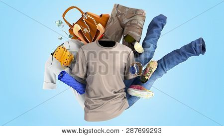 Concept Of Product Categories Clothing And Accessories On Blue Background