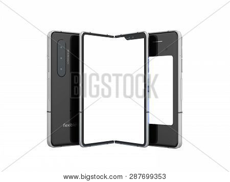 First Serial Flexible Phone 3d Render On White Background No Shadow