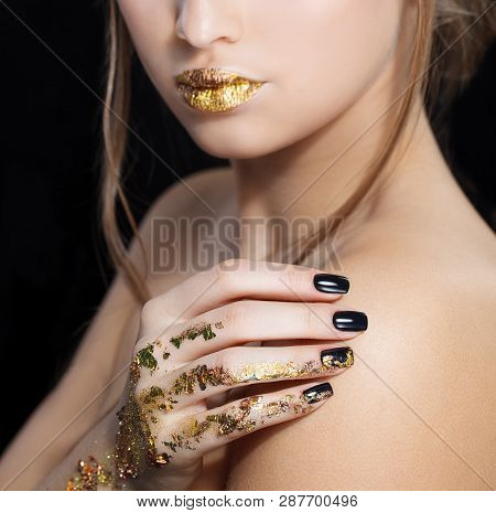 Beautiful Fashion Woman Model Face Portrait With Gold Lipstick And Black Nails. Glamour Girl With Br