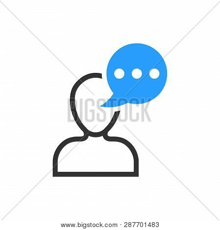 Man Head Mind Thinking Icon In Flat Style. Speech Bubble With People Vector Illustration On White Is