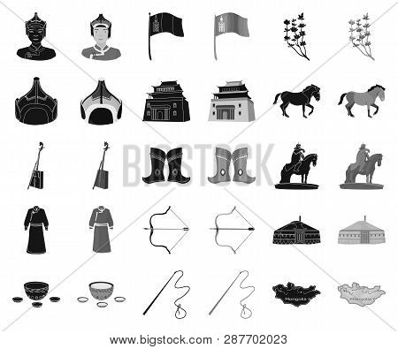 Country Mongolia Black, Monochrome Icons In Set Collection For Design.territory And Landmark Vector