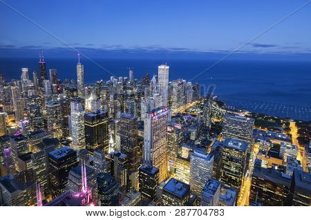 Aerial View Of Chicago Skyline By Night, Usa.