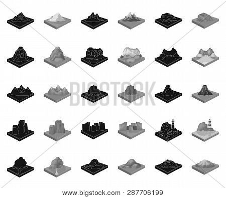 Mountains, Massive Black, Monochrome Icons In Set Collection For Design. The Surface Of The Earth Ve