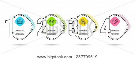 Infographic Template 4 Options Or Steps. Set Of Approved Mail, Finance And Stock Analysis Icons. Sta