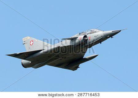 Payerne, Switzerland - August 30, 2014: Former Swiss Air Force Dassault Mirage Iii Fighter Aircraft