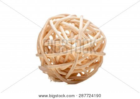 Small Ball Made Of Bamboo, Isolated On White Background