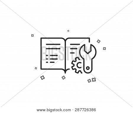 Engineering Documentation Line Icon. Technical Instruction Sign. Geometric Shapes. Random Cross Elem