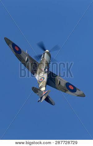 Payerne, Switzerland - September 6, 2014: Supermarine Spitfire Mk16e World War Ii Fighter Aircraft G