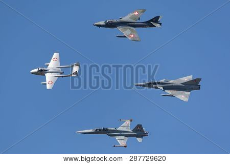 Payerne, Switzerland - September 6, 2014: Formation Of Former Swiss Air Force Jet Aircraft Comprised