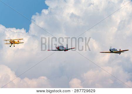 Payerne, Switzerland - September 6, 2014: Bücker Bü 131 Hb-uvm Leading Pilatus P-3 N848ad And Pilatu