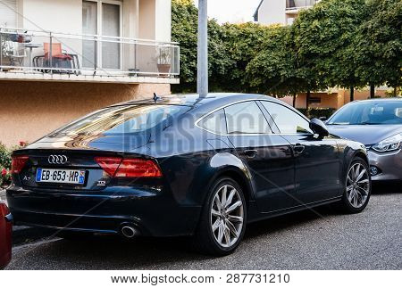 Paris, France - Sep 24, 2017: Beautiful Gray Audi A7 Limousine Tdi Car Parked On A French City Stree