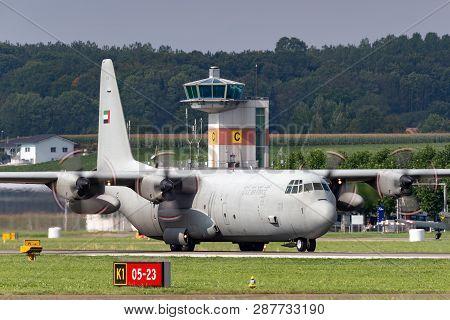 Payerne, Switzerland - September 3, 2014: United Arab Emirates Air Force Lockheed C-130 Hercules Mil