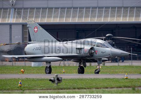 Payerne, Switzerland - September 4, 2014: Former Swiss Air Force Dassault Mirage Iii Fighter Aircraf