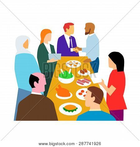 Retro Style Illustration Showing The Concept Of Diversity In Workplace With Diverse Cultures In An O
