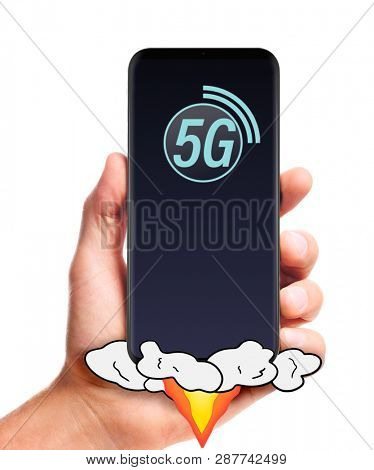 male hand hold launching 5G smartphone, isolated on white background.
