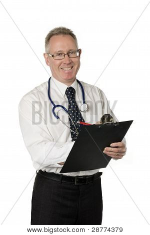 Male Doctor With Clipboard Smiles