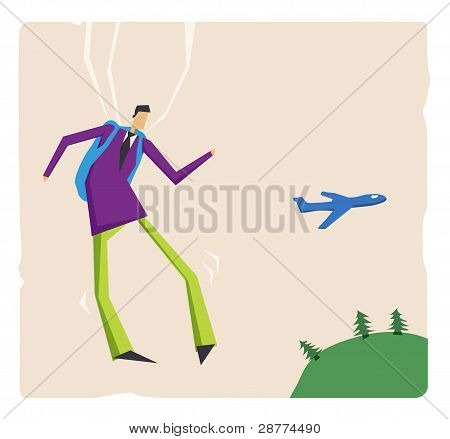 Businessman Flying With Parashute