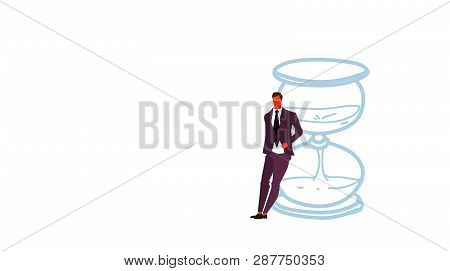 Businessman Leaning On Sand Clock Deadline Time Management Concept Business Man Office Manager Stand