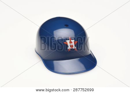 Irvine, California - February 28, 2019:  Closeup Of A Mini Collectable Batters Helmet For The Housto