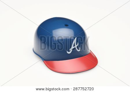 Irvine, California - February 28, 2019:  Closeup Of A Mini Collectable Batters Helmet For The Atlant