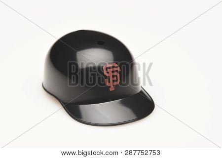 Irvine, California - February 28, 2019:  Closeup Of A Mini Collectable Batters Helmet For The San Fr